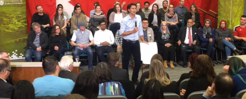 PM Justin Trudeau fields a question at his Saskatoon town hall.