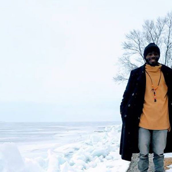 Kumvana Fellow Eric Otieno in the snow